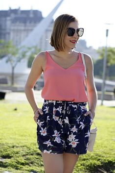 Blame it on Mei Miami Fashion Travel Blogger 2017 Buenos Aires Argentina Summer Travel Look Floral Shorts Tassel Earrings Lace-Up Sandals Women's Bridge Puente Mujeres Puerto Maderos