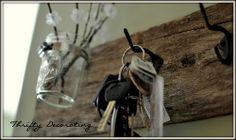 Key holder: old wood and hooks