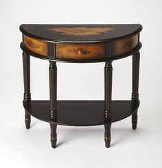 Mozart Coffee Hand Painted Demilune Console Table by Butler Specialty Company 0667059