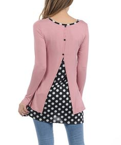 Another great find on #zulily! Pink Polka Dot Split-Back Tunic #zulilyfinds