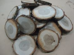 "50 qty 3"" to 4"" oak wood slices, rustic coasters, tree coasters, decoration,  rustic weddings, rustic wedding coasters"""