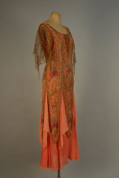 BEADED GOLD LACE and CHIFFON EVENING DRESS, c. 1930