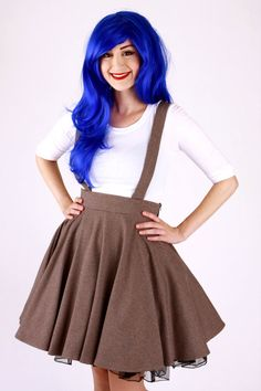Brown Tweed Circle Skirt with Suspenders