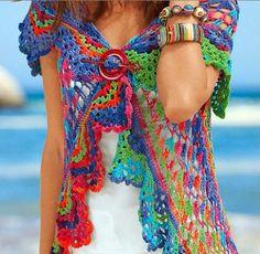 Bolero circular multicolor tejido al crochet