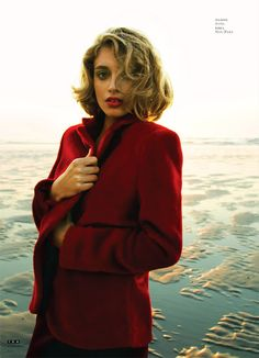 via Book of Polish     #red #blazer #coat #model #water #lip