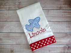 Personalized Appliqued Airplane Burp Cloth by EmbellishedBayou, $15.00