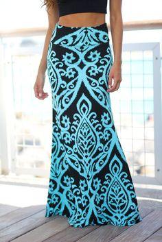 Black and Aqua Printed Maxi Skirt