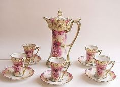 ANTIQUE RS PRUSSIA 11 PIECE PINK CARNATIONS ROSES FOOTED CHOCOLATE TEA POT SET