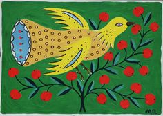 A bird on a in a cherry-tree, Maria Pryimachenko, 1987