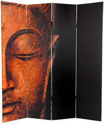 The face of Ganesh, Remover of Obstacles, printed on a room divider screen in 4 canvas panels. Room Divider Screen, Room Dividers, Shoji Screen, Oriental Furniture, Window Coverings, Large Art, Ganesh, Accent Decor, Sculptures