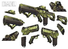 Kevin Duc - Borderlands 2 concept art - Dahl    Here we see some heavier guns that can get some modifications but are more limited than the Tediore. THe green palette makes the stand out well from the rest of the games. They almost look military. (theverge, 2012)