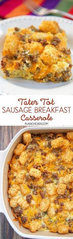 Tater Tot Sausage Breakfast Casserole - great make ahead recipe! Make & Cover with Foil & Freeze.  Thaw & Bake as stated in recipe!   Sausage, cheddar cheese, tater tots, eggs, milk, garlic, onion and black pepper. Can refrigerate or freeze for later. Great for breakfast. lunch or dinner. Everyone loves this easy breakfast casserole!!