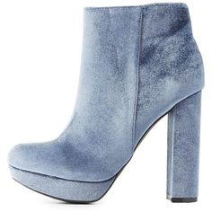 Charlotte Russe Velvet Platform Ankle Booties ($35) ❤ liked on Polyvore featuring shoes, boots, ankle booties, blue, short boots, round toe ankle boots, velvet booties, ankle boots and platform bootie