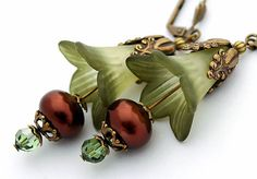 Floral Green Lilies, Chocolate Brown Pearls, Swarovski Crystals, Brass Ornate Drop Earrings