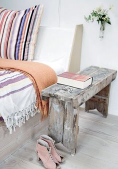 Love this weathered old bedside table....