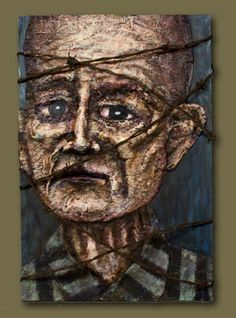 Holocaust Prisoner Lewek Grubaum #23395 Born:1888 Murdered: 03-15-42 Auschwitz Mixed Media Art by Scott Compton @ScottComptonArt.com