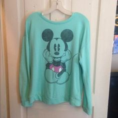 Mint green Mickey mouth crew neck Mint green Mickey Mouse crew neck sweatshirt. Thinner than most sweatshirts. Very good condition Forever 21 Tops Sweatshirts & Hoodies
