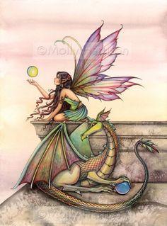 Fairy Dragon Original Fine Art Watercolor Giclee Print by Molly Harrison 'Dragon's Orbs' on Etsy.