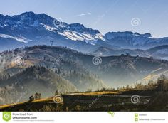 Sunny morning landscape in the valley of Bucegi mountains range, Brasov county, Romania.