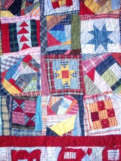 Crumb Quilt-includes link to quiltville Strip Quilts, Scrappy Quilts, Quilt Blocks, Patchwork Quilting, Crumb Quilt, Rag Quilt Patterns, Plaid Quilt, Sampler Quilts, How To Finish A Quilt