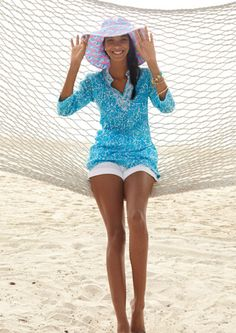 Lilly Pulitzer Summer '13- Sarasota Tunic, Glo Beach Hat, and Barclay Short