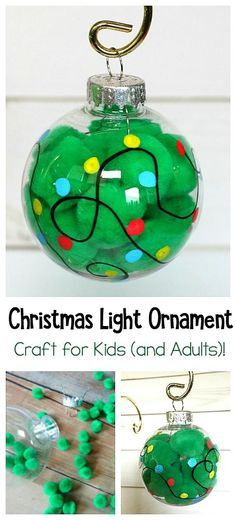 Christmas Light Ornament Craft for Kids: This Christmas craft is perfect for children of all ages (toddlers, preschool, kindergarten, and on up)! It's quick and easy- just grab some pom poms and empty ornaments and you're read to go! ~ BuggyandBuddy.com #diyornaments #christmasornaments #christmascrafts