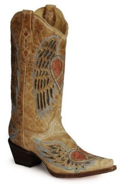 I wore these with my wedding dress :)Corral Heart Angel Wing Cowgirl Boots - Snip Toe available at #Sheplers