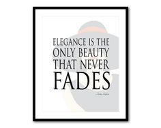 Elegence is the only beauty that never fades - Audrey Hepburn quote - Silhouette - Word Art - Typography Wall Art Print - French script