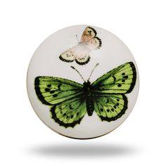 Dresser Drawer Furniture Knob Ceramic White Green by TrincaFerro