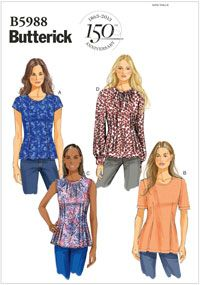 Misses Petite Top Butterick 5988. Size 8-16. (petite - might have to lengthen)