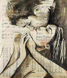 by Loui Jover Pintura Graffiti, Art Sketches, Art Drawings, Illusion Kunst, Newspaper Art, Couple Drawings, Arte Pop, Couple Art, Erotic Art