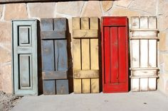 Rustic Window Shutters Here Are Several Rustic Styles And Color Ideas For Exterior Wooden Shutters Rustic Outside Window Shutters Window Shutters Exterior, Outdoor Shutters, Rustic Shutters, House Shutters, Diy Shutters, Exterior Doors, Exterior Paint, Diy Exterior, Shutters Inside