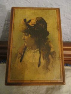Antique J & P Coats sewing box with pretty girl