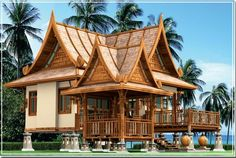 Beautiful Traditional Thai housing with a bit of modern feeling to it. I really like this one  #thailand #thaihouse #home