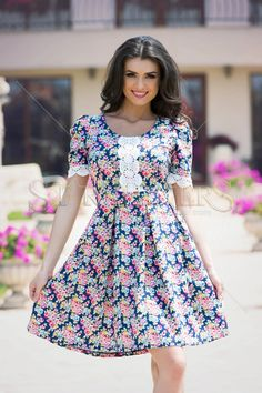 StarShinerS Innocent DarkBlue Dress Clothing Items, Clothing Patterns, Daily Dress, Fabric Textures, Dress Cuts, Floral Embroidery, My Outfit, Trendy Outfits, Dark Blue