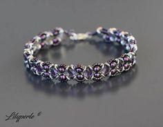 Purple and silver beaded Swarovski Elements Pearl 5810 Pearl