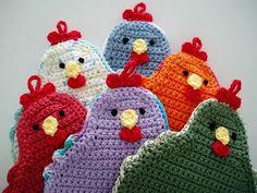 Funky chicken potholders from Katy's Crochet.
