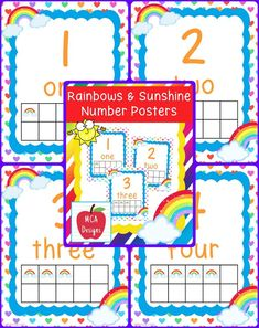 These adorable number posters are part of my Rainbows and Sunshine classroom decor collection. Each poster is accented with bright colors and rainbow themed graphics :)  This set features numbers 1-10 including corresponding ten-frames for the visual learner.   #mca3designs #tpt #teacherspayteachers #classroomdecor #classroomtheme #backtoschool #classroomposters #elementary #numbers
