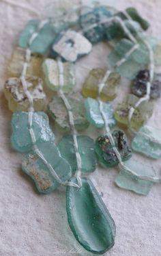 ANCIENT ROMAN GLASS No. 22 .. Genuine Antique Roman Glass Fragment Beads (rg-22) by ArteBellaSurplus on Etsy