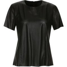 ELLESD - Perforated Leather T-shirt ($295) ❤ liked on Polyvore featuring tops, t-shirts, black tee, black t shirt, leather tee, black leather t shirt and zipper t shirt