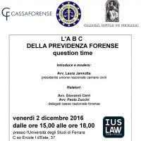 L'ABC della Previdenza Forense – Evento Camera Civile di Ferrara 02.12.2016