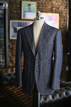 Tailorable & co. — A denim sports jacket, for more casual use. Regardless a true bespoke piece, softly structured, and hand made.