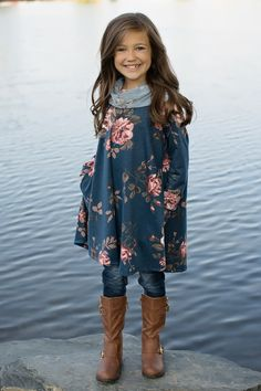 12fadddc939e6 Girls Denim Floral Cowl Neck Dress. ブティックの服カウルネックドレス女児ファッションキッズ ...