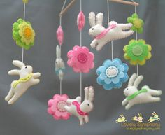 Rabbits and flowers baby mobile  bunnies and by LovelySymphony, $100.00