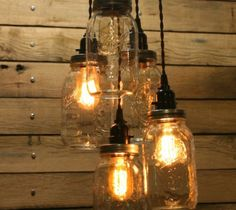 Jar Fixture Mason Chandelier Light Country Farmhouse Vintage Pendant Edison Lamp…