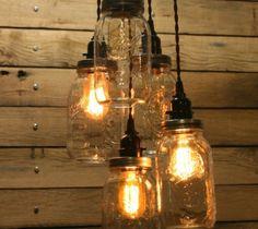 Jar Fixture Mason Chandelier Light Country Farmhouse Vintage Pendant Edison Lamp…