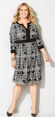 Plus Size Framed Scroll Dress