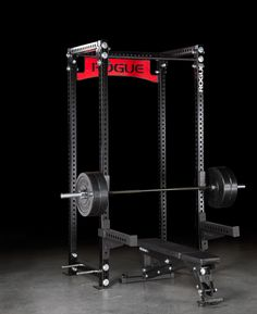Power Rack w/ Bar, Plates, and Bench Commercial Fitness Equipment, No Equipment Workout, Gym Setup, Gym Machines, Rogue Fitness, Power Rack, Gym Design, Strength Workout, Get In Shape