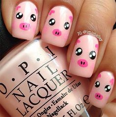 The little pigs look so cute on your nails