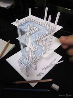 Anamorphic Optical Illusions Drawings that look like By Alessandro Diddi.A gallery of the incredible drawings of Italian artist Alessandro Diddi, who creates amazing optical illusions with a graphite pencil.r/Art - Illusion drawing, Alessandro Diddi 3d Art Drawing, Art Drawings Sketches, Cool Drawings, Flat Drawings, Figure Drawing, Optical Illusions Drawings, Illusion Drawings, Optical Illusion Art, 3d Pencil Sketches